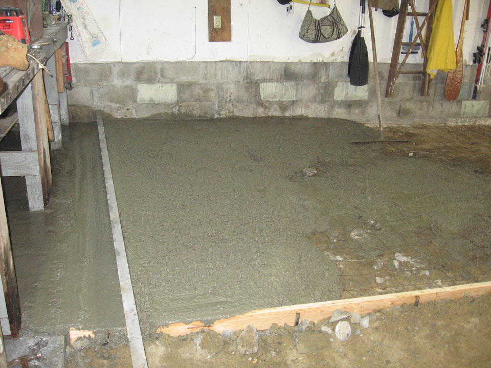 Concrete garage basement shed floors mixed on site for American garage floor